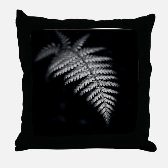 Black and white image of fern frond w Throw Pillow