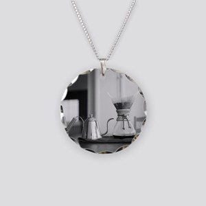 Chemex coffee maker and kett Necklace Circle Charm