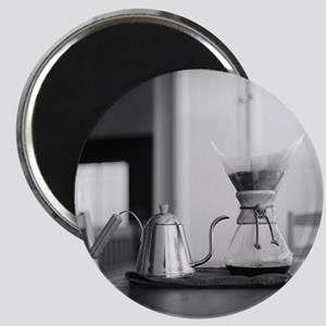 Chemex coffee maker and kettle for water. Magnet