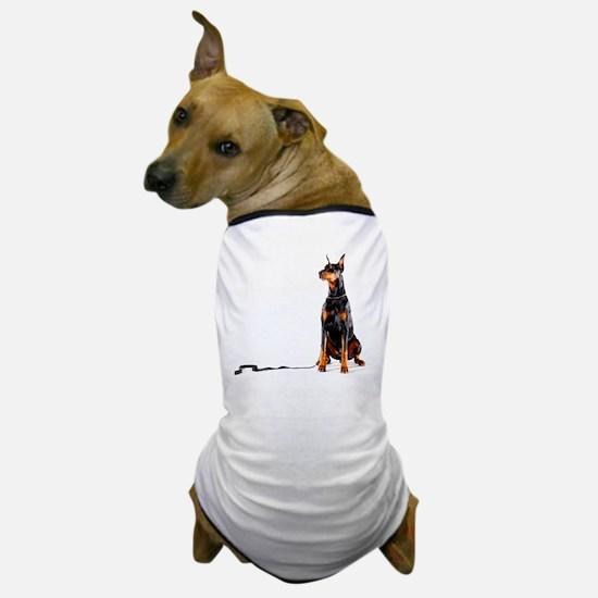 Doberman with leash on white backgroun Dog T-Shirt