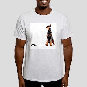 Doberman with leash on white backgro Light T-Shirt
