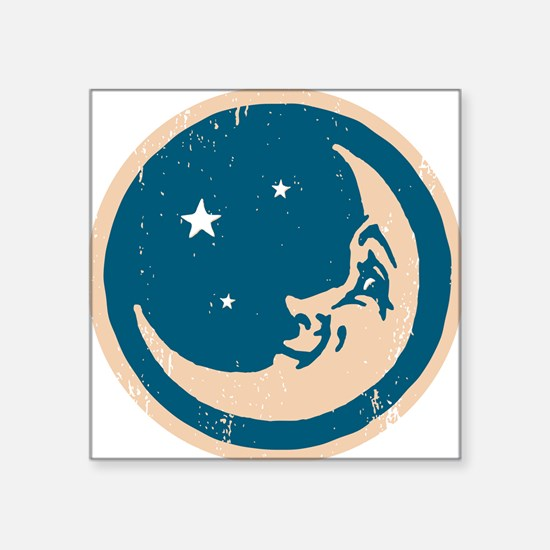 """Crescent shaped moon with a Square Sticker 3"""" x 3"""""""