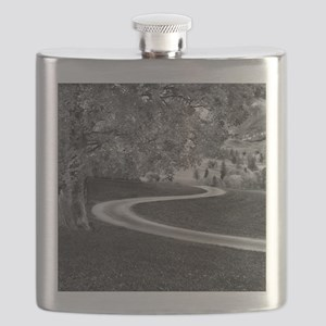 Curve road with landscape. Flask