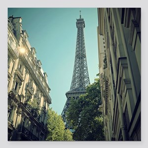 """Eiffel Tower taken from  Square Car Magnet 3"""" x 3"""""""