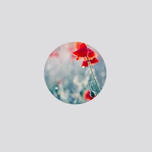 Field of red poppies in flower with ea Mini Button