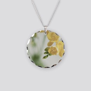 Fragrant Freesia flowers in  Necklace Circle Charm