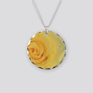 Close up of yellow rose. Necklace Circle Charm