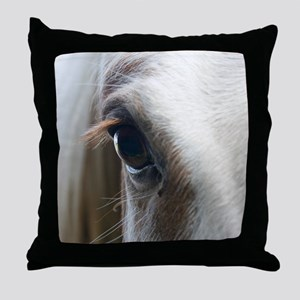 Close up of White horse eye Throw Pillow