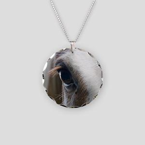 Close up of White horse eye Necklace Circle Charm