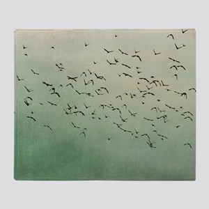 Flying flock of birds in sky by moon Throw Blanket