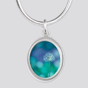 Dandelion with blue and green Silver Oval Necklace