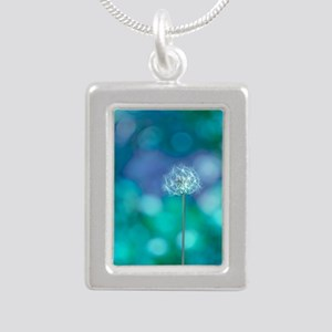 Dandelion with blue and  Silver Portrait Necklace