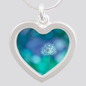 Dandelion with blue and gree Silver Heart Necklace