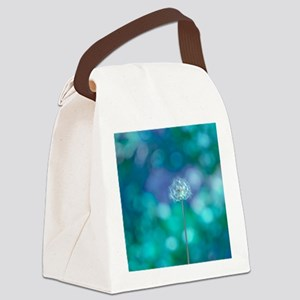Dandelion with blue and green bac Canvas Lunch Bag