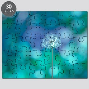Dandelion with blue and green background. Puzzle