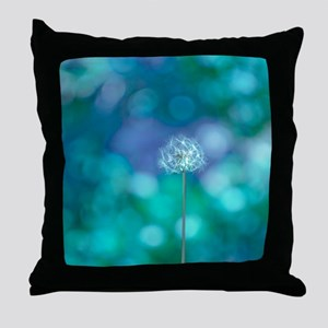Dandelion with blue and green backgro Throw Pillow