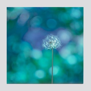Dandelion with blue and green backgro Tile Coaster