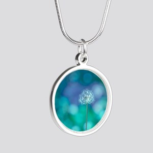 Dandelion with blue and gree Silver Round Necklace