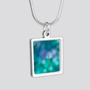 Dandelion with blue and gr Silver Square Necklace