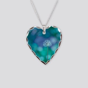 Dandelion with blue and green Necklace Heart Charm