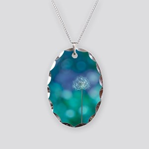 Dandelion with blue and green  Necklace Oval Charm