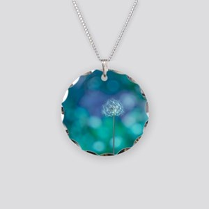 Dandelion with blue and gree Necklace Circle Charm