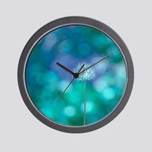 Dandelion with blue and green backgroun Wall Clock