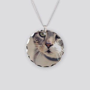Closeup of face of tabby cat Necklace Circle Charm