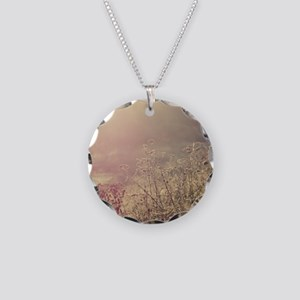 Grasses and mist. Necklace Circle Charm