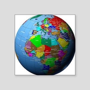 "Globe Showing Africa and Eu Square Sticker 3"" x 3"""