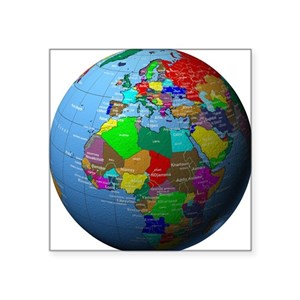 Square Earth Map.African Or European Square Stickers Cafepress
