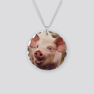 Happy little piglet. Necklace Circle Charm
