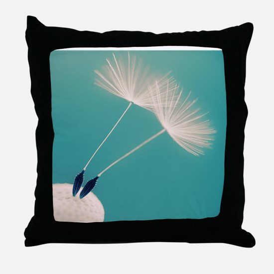 Detail of a dandelion flower with two Throw Pillow