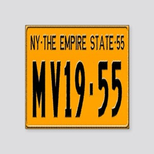 "1955 New York License Plate Square Sticker 3"" x 3"""