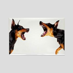 Dobermans barking at each other Rectangle Magnet