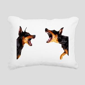 Dobermans barking at eac Rectangular Canvas Pillow