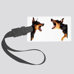 Dobermans barking at each other Large Luggage Tag