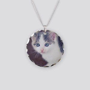 Kitten looking up with big b Necklace Circle Charm
