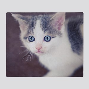 Kitten looking up with big blue eyes Throw Blanket