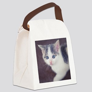 Kitten looking up with big blue e Canvas Lunch Bag