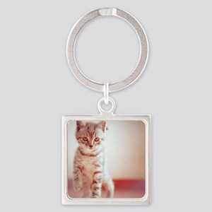 Kitten walking on floor. Square Keychain