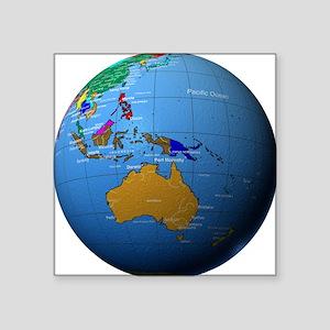 """Globe Showing Australia, In Square Sticker 3"""" x 3"""""""