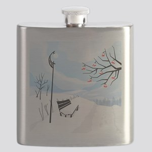 Illustration of a winter image of a tree and Flask