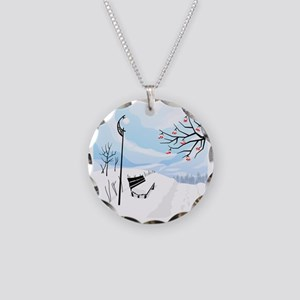 Illustration of a winter ima Necklace Circle Charm