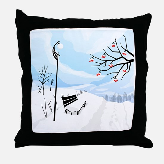 Illustration of a winter image of a t Throw Pillow