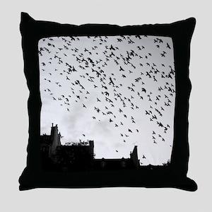 Flock of birds flying. Throw Pillow