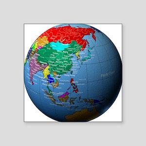 "Globe Showing Asia Square Sticker 3"" x 3"""