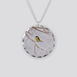 Great Tit perching on snowy  Necklace Circle Charm