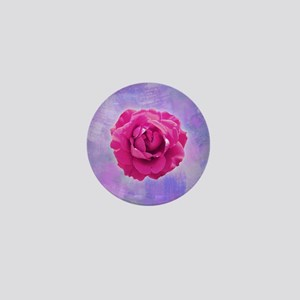 Cerise rose on pink and purple canvas Mini Button