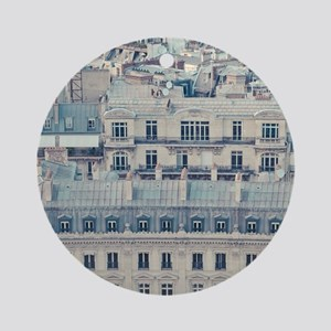 Cream colored apartments with grey  Round Ornament